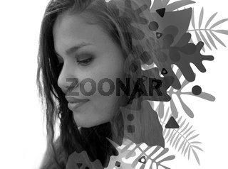 Double exposure portrait of a mixed-race woman combined with digital graphics
