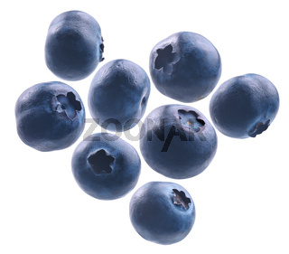A set of blueberries. Isolated on a white background