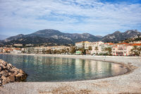 Beach and Sea Bay in Menton Town in France