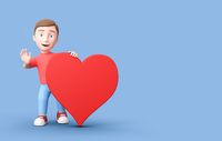 3D Cartoon Character with Red Heart Shape on Blue Background with Copy Space