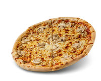 Pizza with cheese and tomato sauce isolated on white background. fresh mushroom topping.