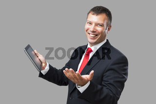 business man tablet pc