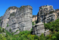 Meteora rock cliffs in Greece