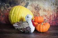 A thanksgiving background with a turkey and pumpkins
