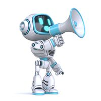 Cute blue robot with megaphone 3D