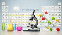 Chemistery laboratory with microscope, molecule model and glass lab eqipment on the table. Periodic table on the background. 3D illustration
