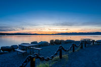 Sunrise over yellowstone lake in yellowstone national park