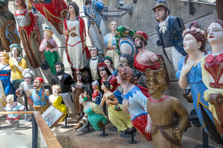 A gorgeous collection of colorful ship figureheads on Cutty Sark  ship in London Greenwich area. The Long John Silver collection of figureheads. Royal Museums Greenwich