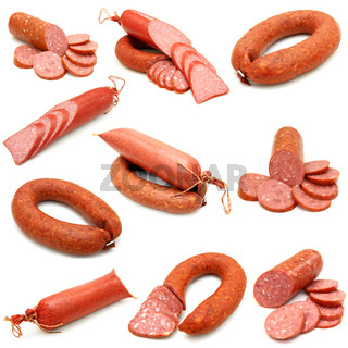 sausage collection isolated on white background
