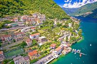 Idyllic town of Laglio on Como lake aerial view