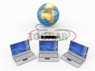Home Network. Router and three laptops