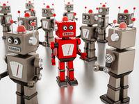 Red vintage robot stands out among gray standard robots. 3D illustration