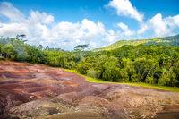 The Seven coloured earths near Chamarel, Mauritius, Africa