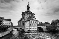 Town hall on the bridge in the Old town of Bamberg