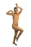 Frau mit Goldfarbe bemalt - Bodypainting
