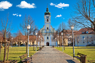 Town of Ogulin church and park landscape view