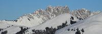 Gastlosen in winter. Rugged mountains in the Swiss Alps seen from Horeneggli.