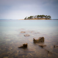 Banjol on island of Rab with sveti Juraj in a long exposure at evening