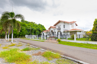 Panama David, exterior view of a villa with neoclassical architecture