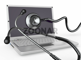 Service for laptop repair. Laptop with stethoscope. 3d