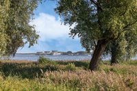 Coast Dutch lake IJmeer near Muiden with view at Almere