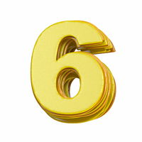Yellow font Number 6 SIX 3D