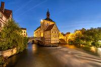 Das historische Fachwerk-Rathaus von Bamberg