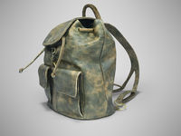 3D rendering school backpack leather green with scuffs on gray background with shadow