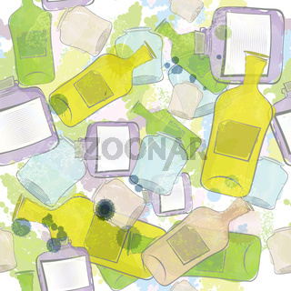 Jars and bottles seamless pattern