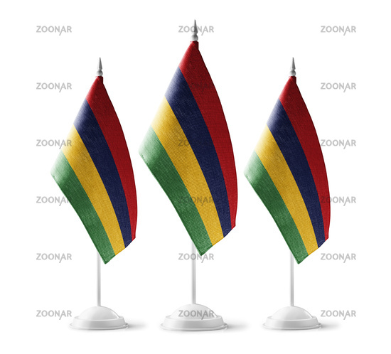 Small national flags of the Mauritius on a white background