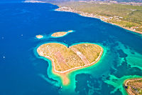 Heart shaped island of Galesnjak in Zadar archipelago aerial view