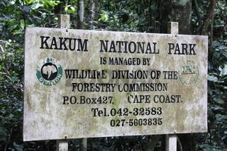 Eingangsschild zum Kakum Nationalpark/Ghana