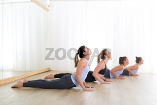 Group of young sporty women in yoga studio, practicing yoga. Healthy active lifestyle, working out indoors in gym