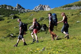 Junge Leute wandern in den Alpen