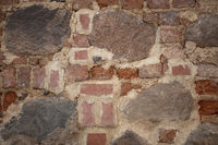 Background of an old wall made of stone and rough brick.