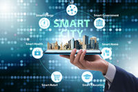 Businessman in smart city modern concept