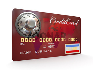 Credit card with steel security lock on white background. 3d