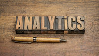 analytics word abstract in vintage letterpress wood type