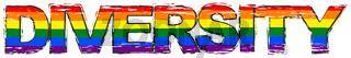 Word DIVERSITY with pride rainbow flag (symbol of LBGT) under it, distressed grunge look.