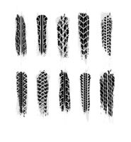 Largest set of realistic grunge wheel tires traces, car tread tracks on white