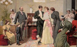 Brautpaar beim Ja-Wort, historischer Stich, ca. 18