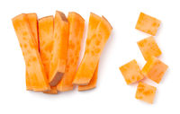 Sliced Sweet Potatoes Raw Fries And Cubes