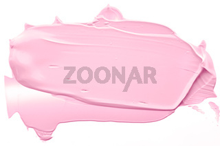 Blush pink beauty cosmetic texture isolated on white background, smudged makeup emulsion cream smear or foundation smudge, cosmetics product and paint strokes