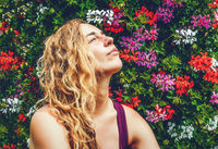 beautiful background with muscat flowers and woman face.