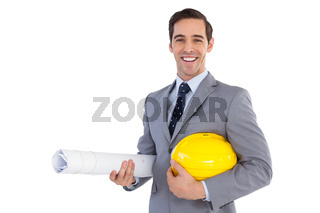 Happy architect holding plans and hard hat