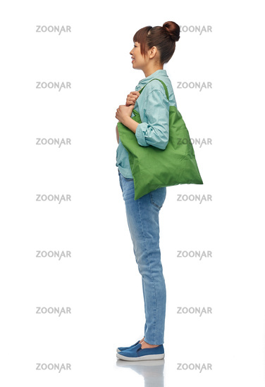 woman with reusable canvas bag for food shopping