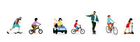 young people illustration, transport concept of kids on bicycle, car and skateboard,