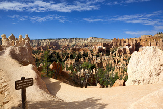 Hiking among the hoodoos in the Queens Garden Trail. Bryce Canyon National Park. Utah USA
