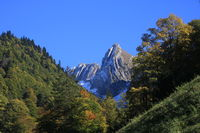 Colorful autumn forest and Mount Plattenberg.