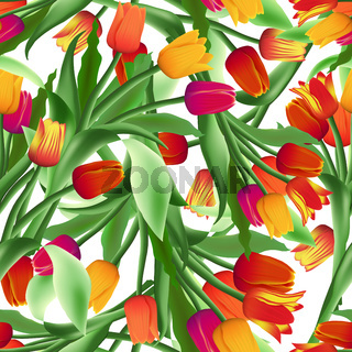 Beautiful seamless floral pattern of realistic tulips. Blooming bright bouquets of flowers. Red, yellow and purple buds. Vector.